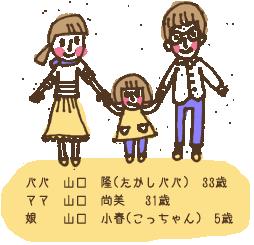 パパ:山口 隆(たかしパパ) 33歳/ママ:山口 尚美 31歳/娘:山口 小春(こっちゃん) 5歳